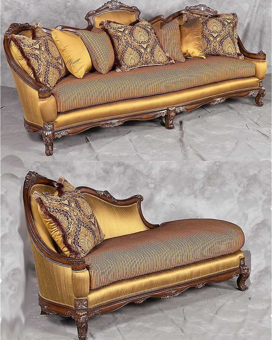 Bennetti Luxury Silk Chenille Sofa Set 2Pcs Carved Wood Milania Sofa Chaise Lounge Classic Traditional