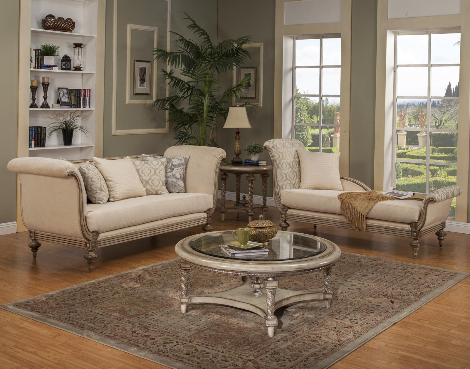 Bennetti Luxury Silk Chenille Sofa Set 2 Ps Carved Wood Milerige Sofa Chaise Lounge  Classic Traditional