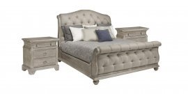 Traditional Oak Finish Tufted Upholstered King Sleigh Bedroom Set 3Pcs HD-80005