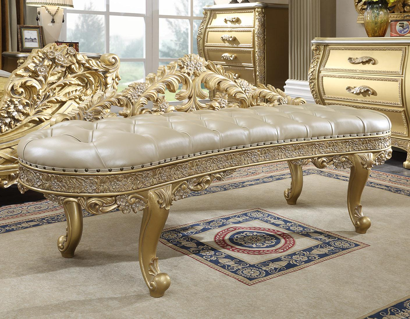 Champagne Leather Bench Antique Gold HD-1801 Homey Design Traditional