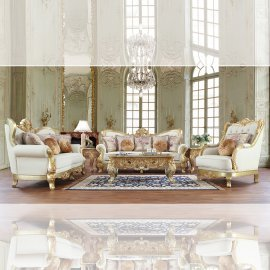Victorian White Tufted Leather Sofa Set 3 Pcs Traditional Homey Design HD-93630