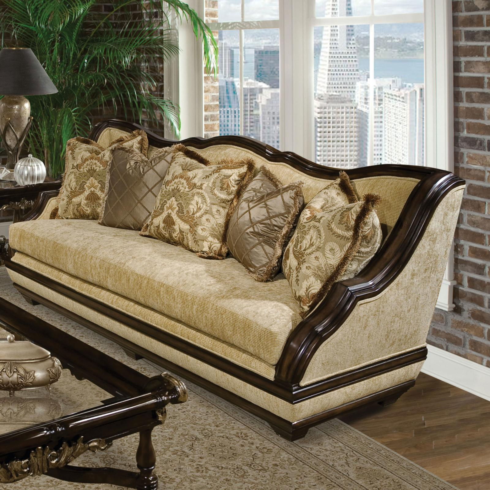Classic, Traditional Beige, Desert sand Fabric and Wood Veneers, Solid Hardwood Sofas 1 pcs Beladonna by Benneti
