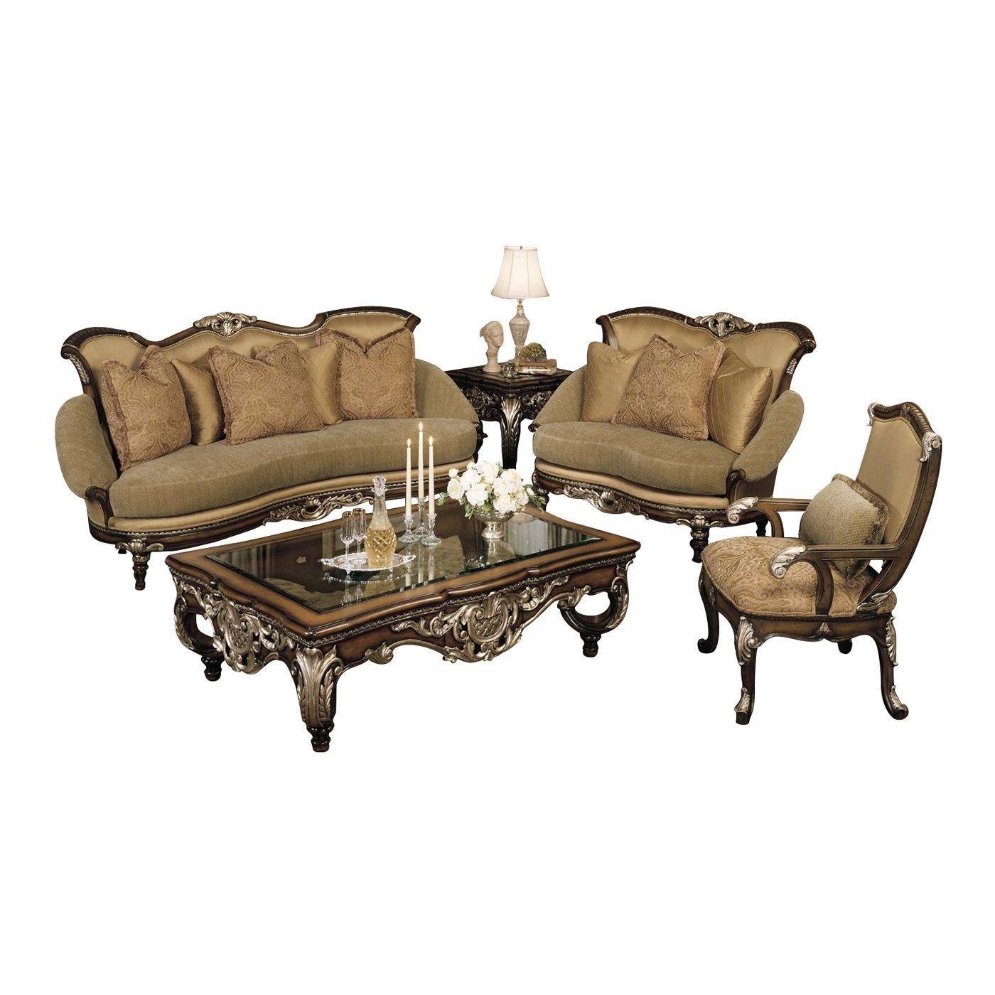 Classic, Traditional Silver, Tan, Dark Brown, Golden Beige Chenille and Fabric, Wood, Solid Hardwood Sofa Set 3 pcs Catalon by Benneti