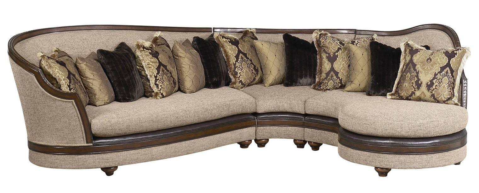 Classic, Traditional Beige, Walnut, Dark Brown Chenille and Fabric, Wood, Solid Hardwood Sectional Sofa RHC Donatella by Benneti