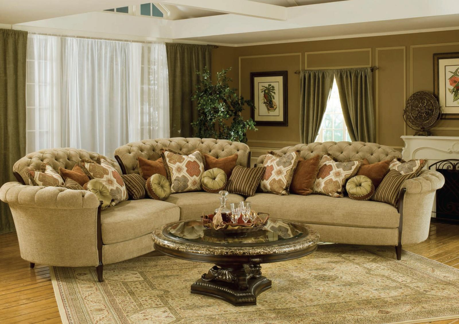 Classic, Traditional Beige, Walnut, Dark Brown Chenille and Fabric, Wood, Solid Hardwood Sectional Sofa 3 pcs Elena  by Benneti