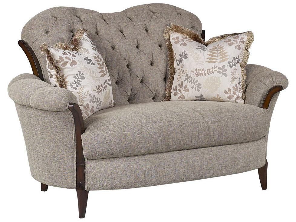 Classic, Traditional Beige, Gray Chenille and Fabric, Wood, Solid Hardwood Loveseat 1 pcs Elena by Benneti