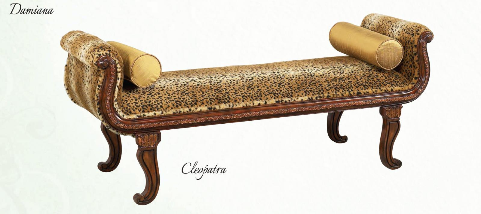 Classic, Traditional Walnut, Light Brown, Golden Beige Chenille and Wood, Solid Hardwood Benches 1 pcs Cleopatra by Benneti