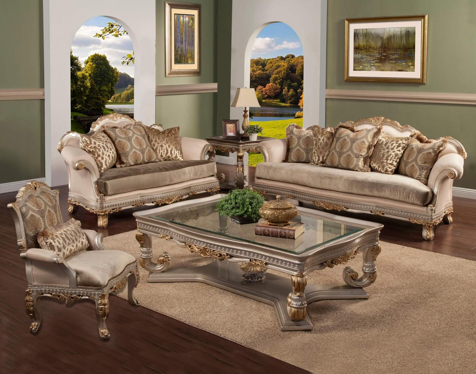 Classic, Traditional Gold, Silver, Light Gray Chenille and Fabric, Wood, Solid Hardwood Sofa Set 4 pcs Ornella by Benneti