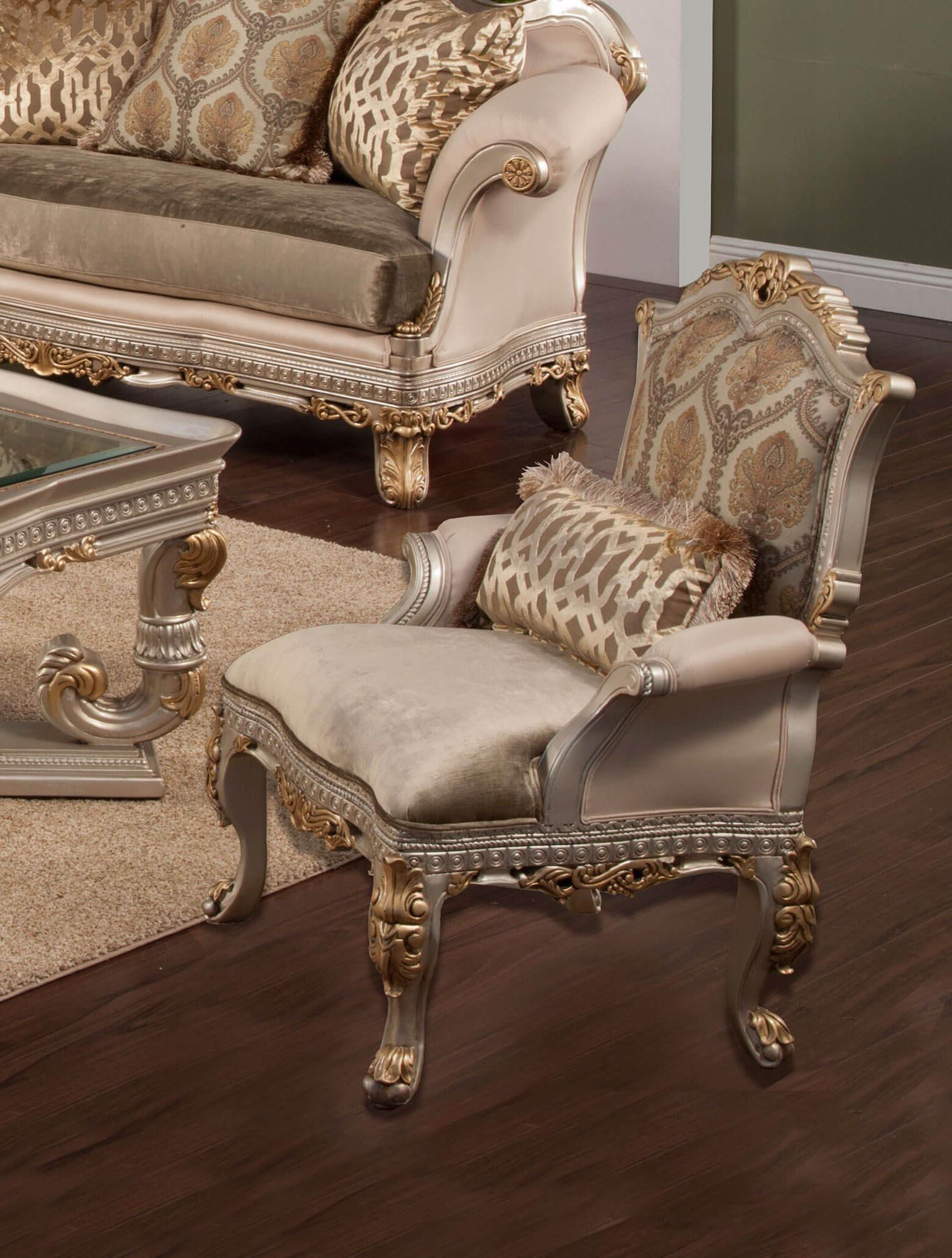 Classic, Traditional Gold, Silver, Light Gray Chenille and Fabric, Wood, Solid Hardwood Accent Chair 1 pcs Ornella by Benneti