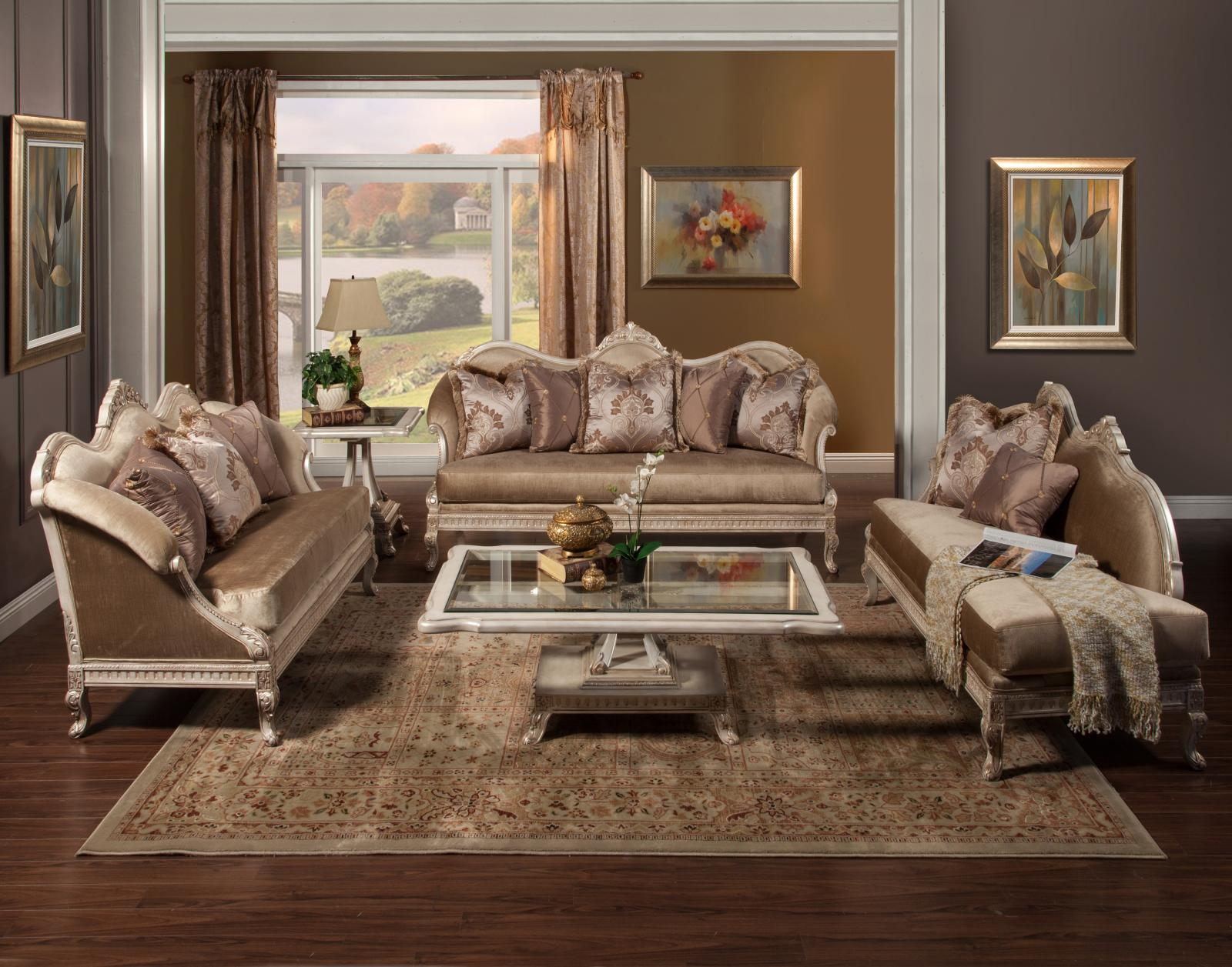 Classic, Traditional Gold, Silver, Pearl Chenille and Fabric, Wood, Solid Hardwood Sofa Set 3 pcs Perla  by Benneti