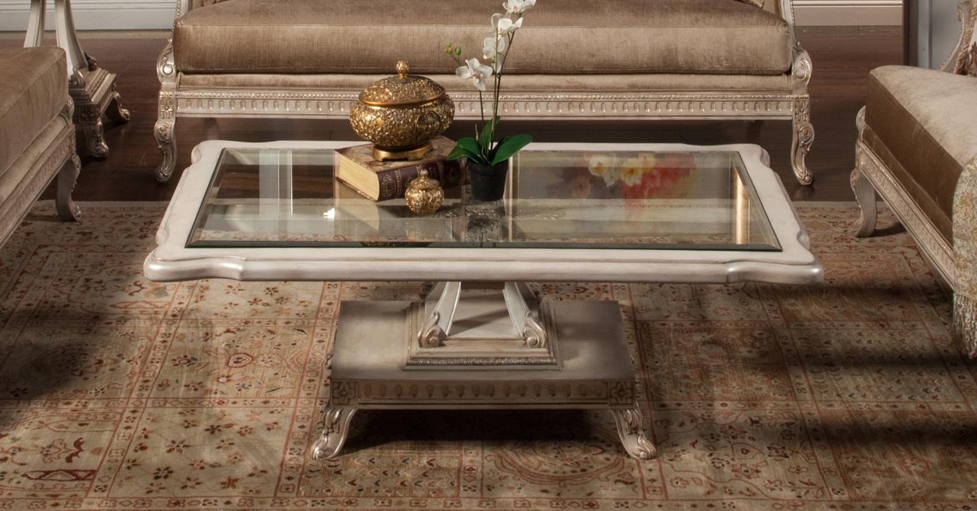 Classic, Traditional Gold, Silver, Pearl  and Glass, Wood, Solid Hardwood Cocktail Table 1 pcs Perla by Benneti