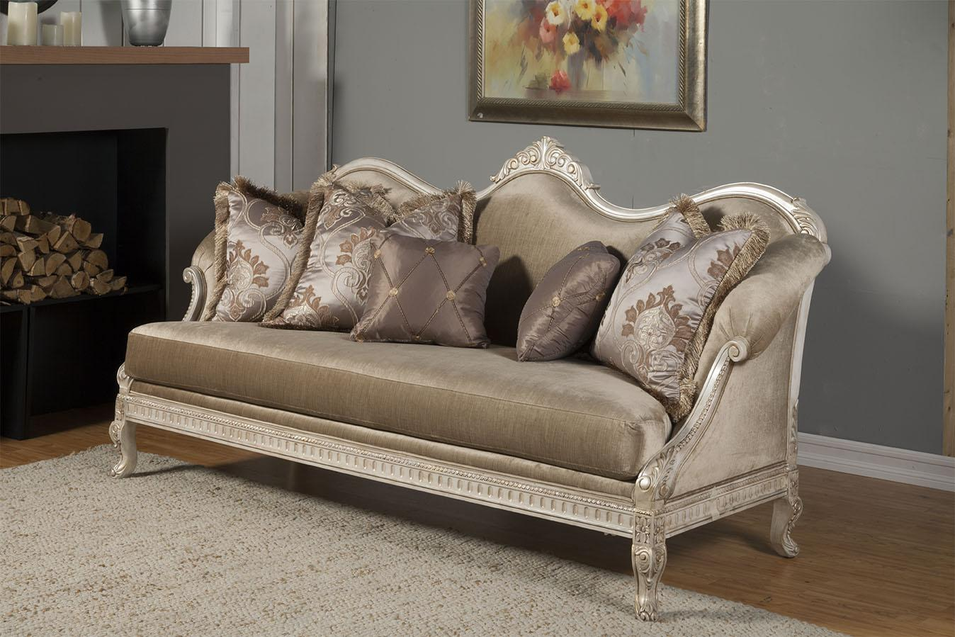 Classic, Traditional Gold, Silver, Pearl Chenille and Fabric, Wood, Solid Hardwood Sofa 1 pcs Perla  by Benneti