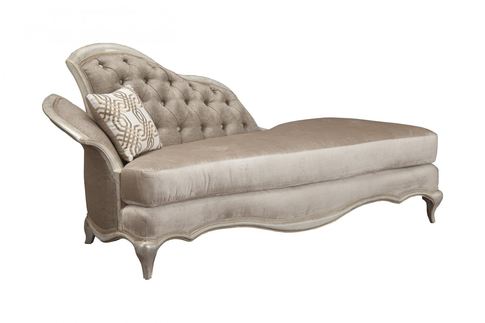 Classic, Traditional Gold, Silver, Pearl Chenille and Fabric, Wood, Solid Hardwood Chaise Lounge 1 pcs Perlita by Benneti