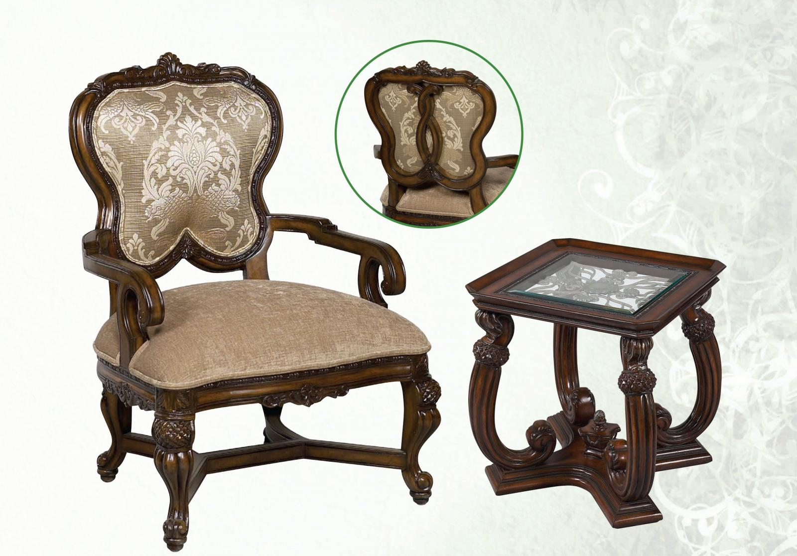Classic, Traditional Beige, Dark Brown, Cream Chenille and Fabric, Glass, Wood, Solid Hardwood Accent Chair and End Table Set 2 pcs Luna by Benneti