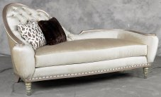 Classic, Traditional Antique, Pearl White Chenille and Wood, Solid Hardwood Chaise Lounge 1 pcs Sofia by Benneti