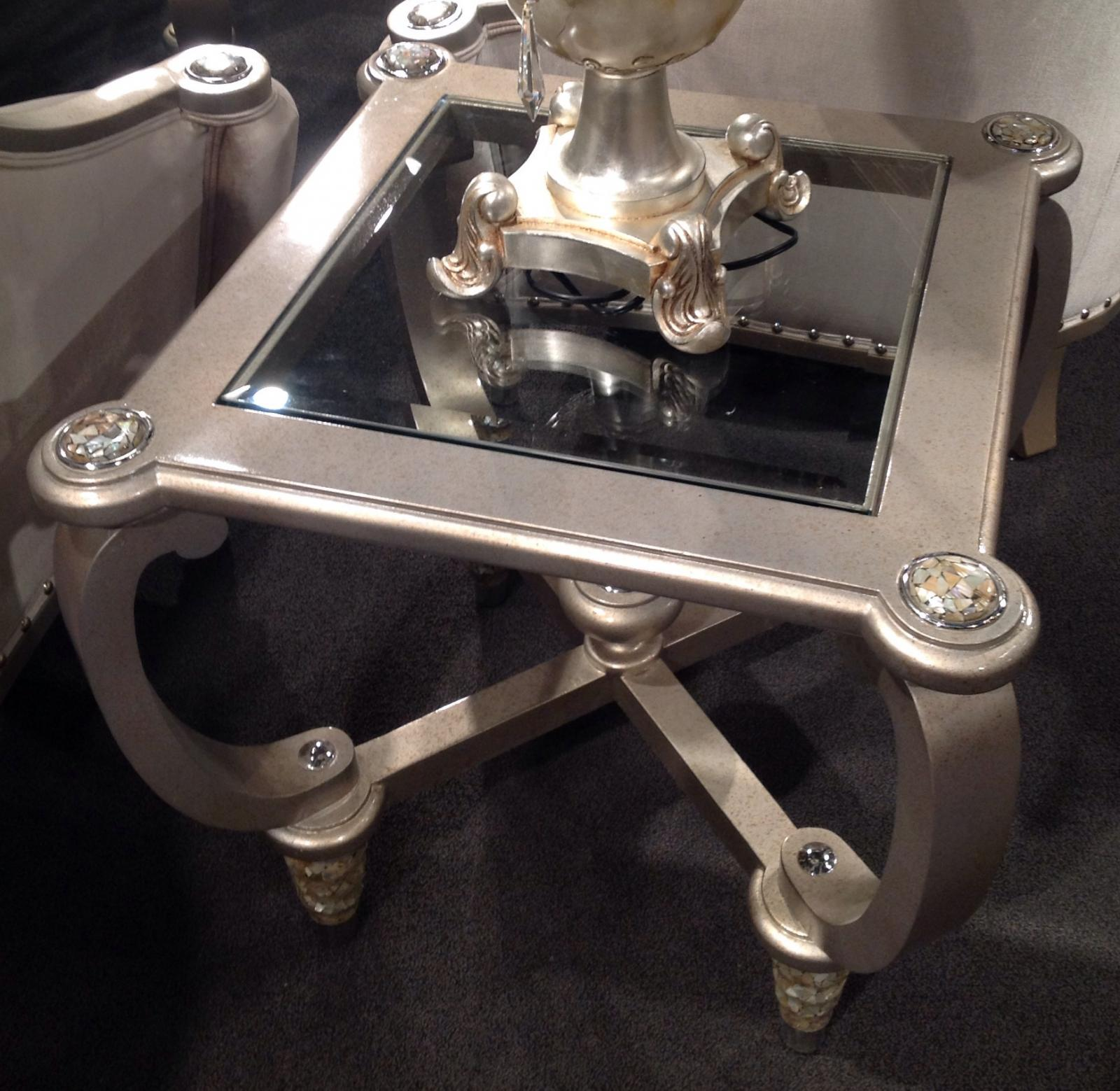 Classic, Traditional Silver  and Glass, Wood, Solid Hardwood End Table 1 pcs Sofia by Benneti