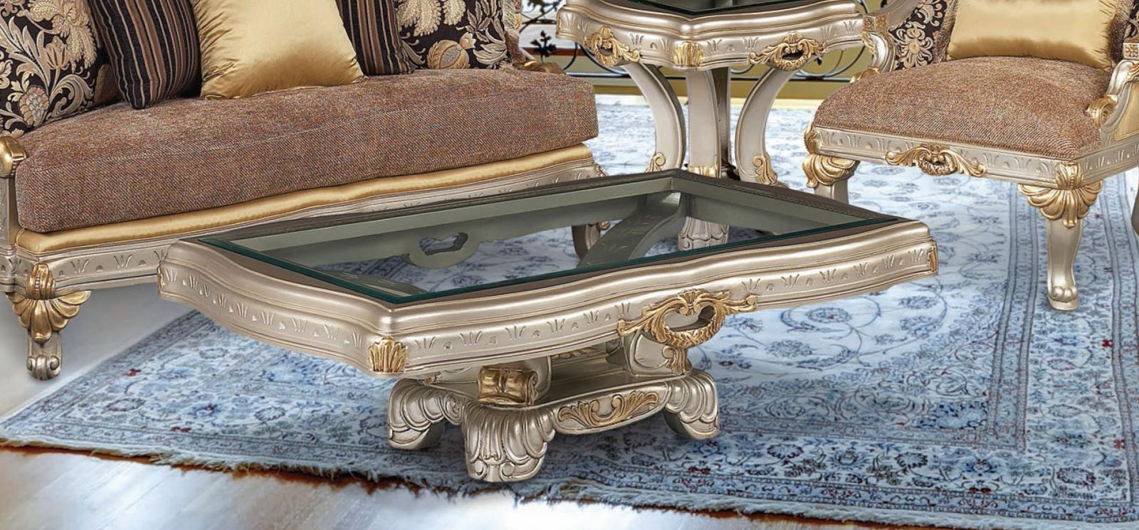 Classic, Traditional Gold, Silver  and Glass, Wood, Solid Hardwood Cocktail Table 1 pcs Firenza  by Benneti