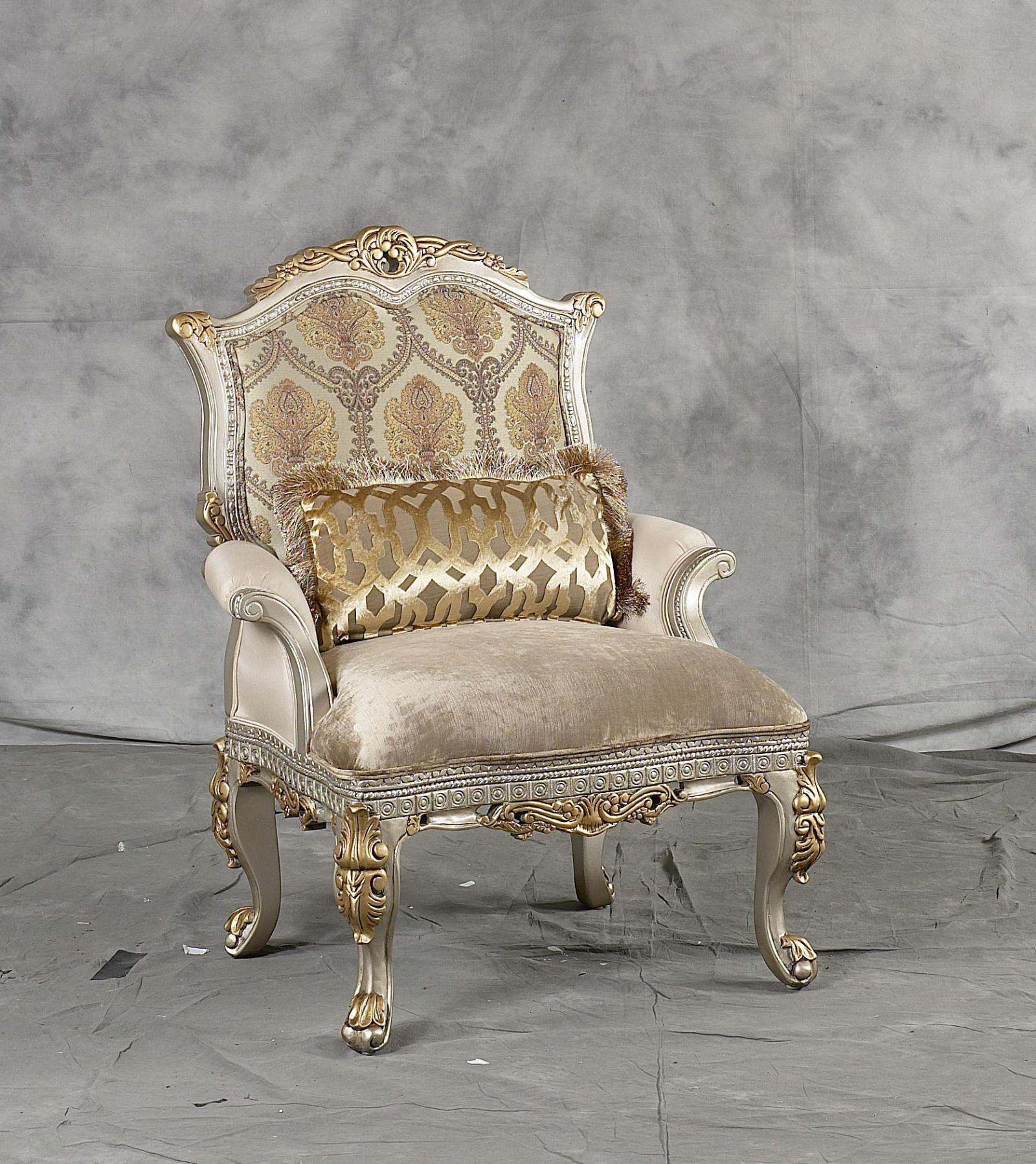 Classic, Traditional Gold, Silver, Light Beige Chenille and Fabric, Wood, Solid Hardwood Accent Chair 1 pcs Ornella by Benneti