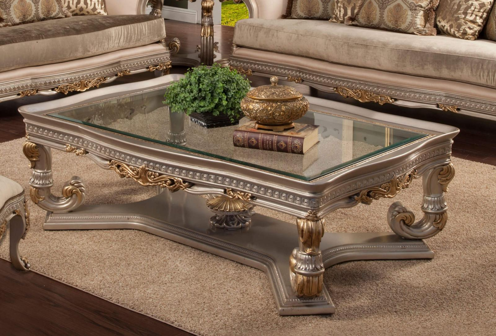 Classic, Traditional Gold, Silver  and Glass, Wood, Solid Hardwood Cocktail Table 1 pcs Ornella by Benneti