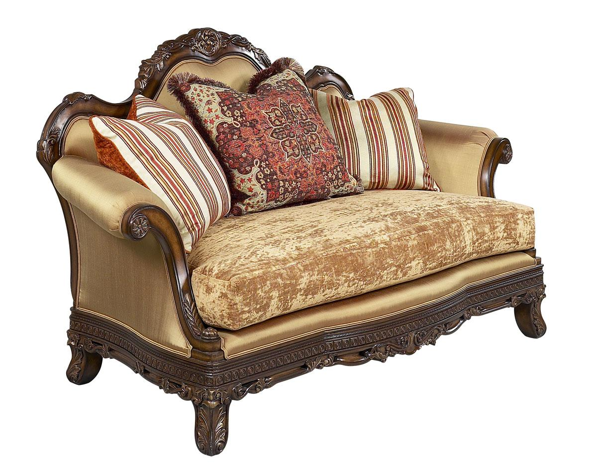 Classic, Traditional Gold, Dark Brown, Golden Beige Chenille and Fabric, Wood, Solid Hardwood Loveseat 1 pcs Ornella BR by Benneti