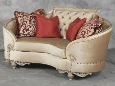 Classic, Traditional Beige Chenille and Fabric, Wood, Solid Hardwood Loveseat 1 pcs Rosabella by Benneti