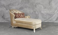 Classic, Traditional Beige Chenille and Fabric, Wood, Solid Hardwood Chaise Lounge 1 pcs Rosabella by Benneti
