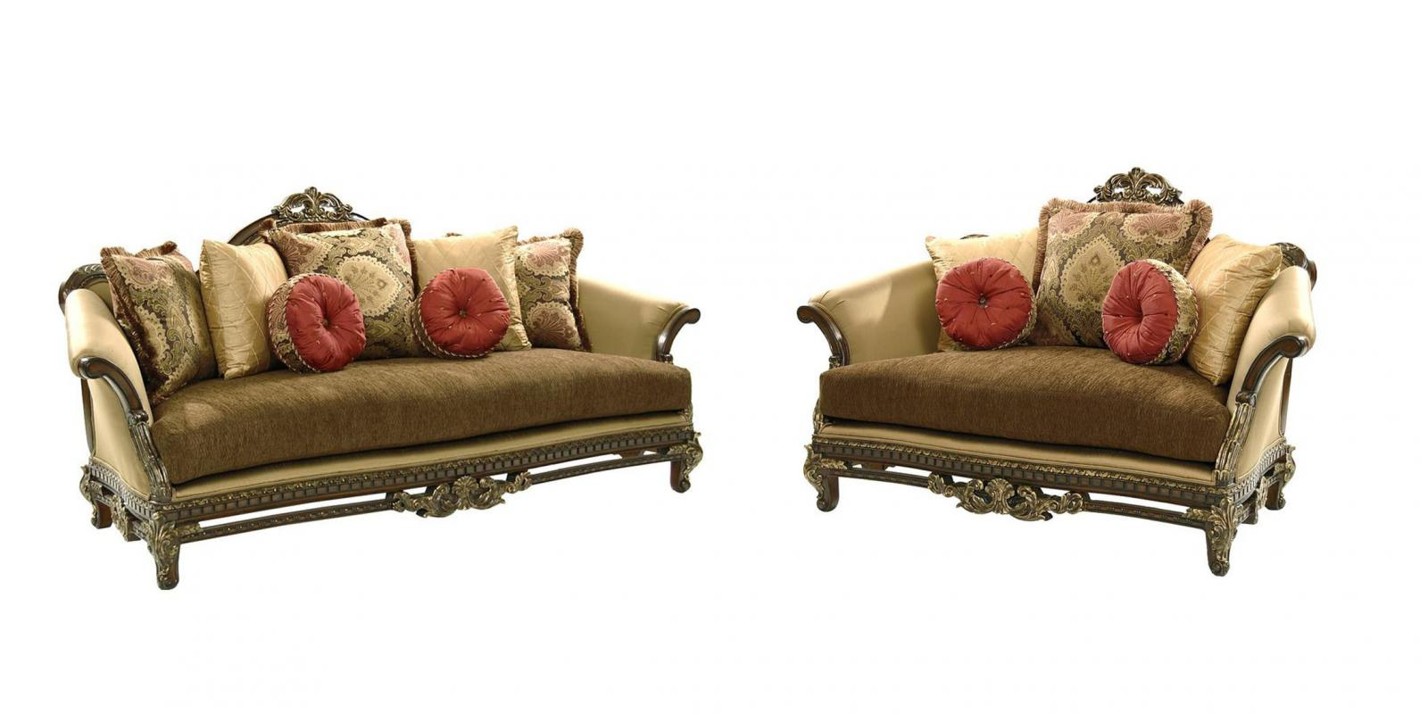 Classic, Traditional Brown, Walnut, Golden Beige Chenille and Fabric, Wood, Solid Hardwood Sofa Loveseat 2 pcs Sicily by Benneti
