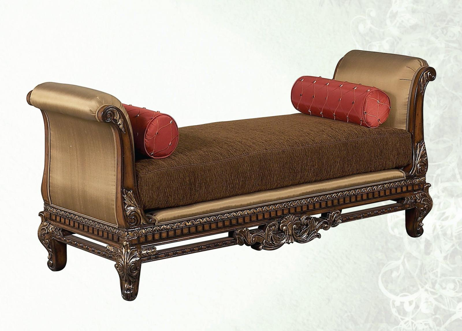 Classic, Traditional Brown, Walnut Chenille and Fabric, Wood, Solid Hardwood Oversized Bench 1 pcs Sicily by Benneti