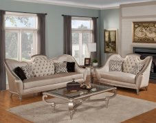Classic, Traditional Beige Chenille and Fabric, Glass, Wood, Solid Hardwood Sofa Loveseat Coffee Table End table 4 pcs Sofia by Benneti