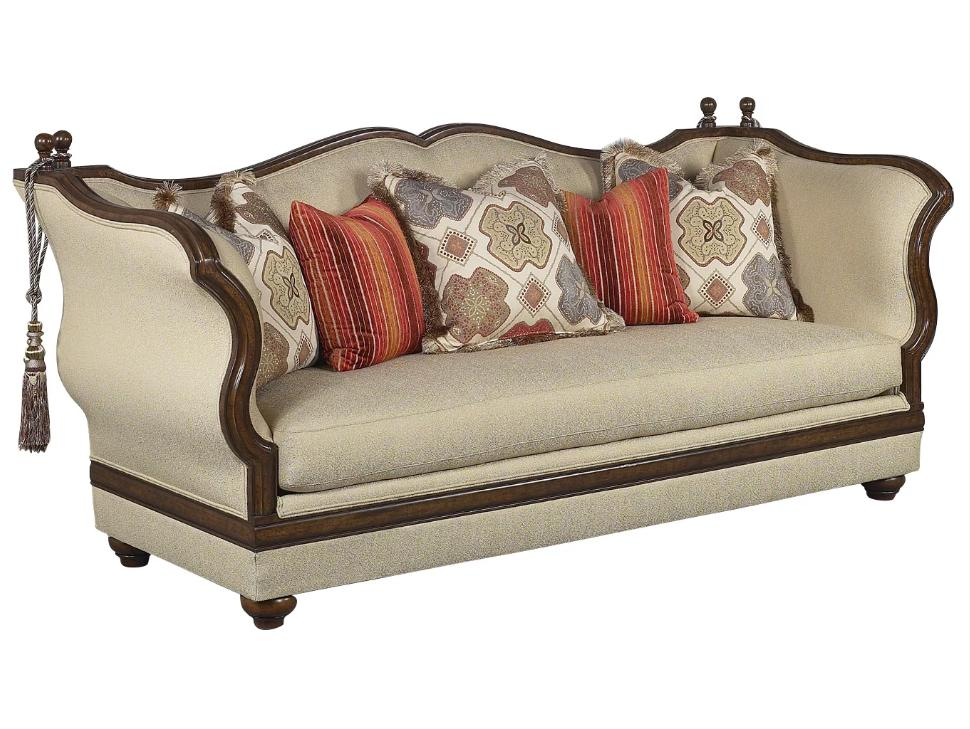 Classic, Traditional Beige, Dark Brown, Cream Chenille and Fabric, Wood, Solid Hardwood Sofa 1 pcs Renata by Benneti