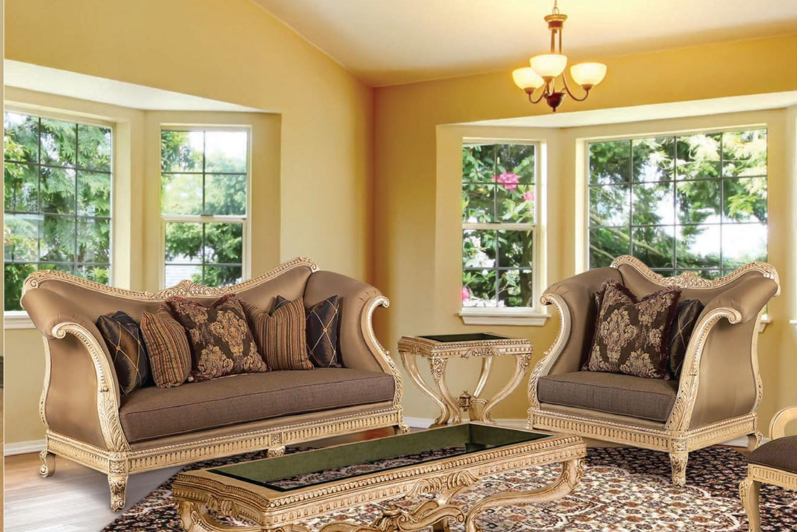 Classic, Traditional Coffee, Gold, Cocoa, Caramel Chenille and Fabric, Wood, Solid Hardwood Living Room Set 2 pcs Riminni by Benneti