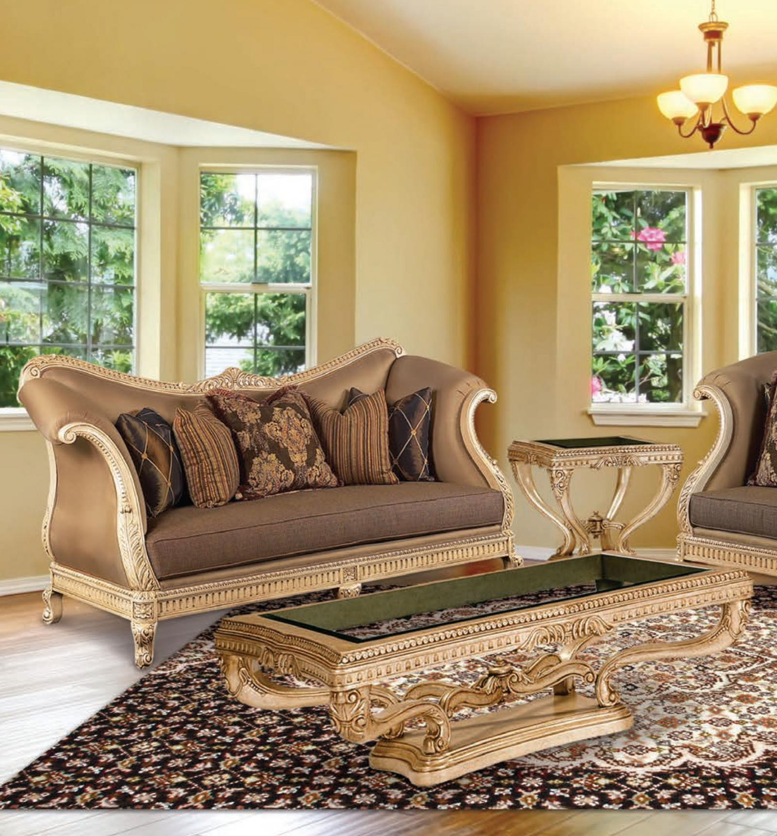 Classic, Traditional Coffee, Gold, Cocoa, Caramel Chenille and Fabric, Wood, Solid Hardwood Sofa 1 pcs Riminni by Benneti