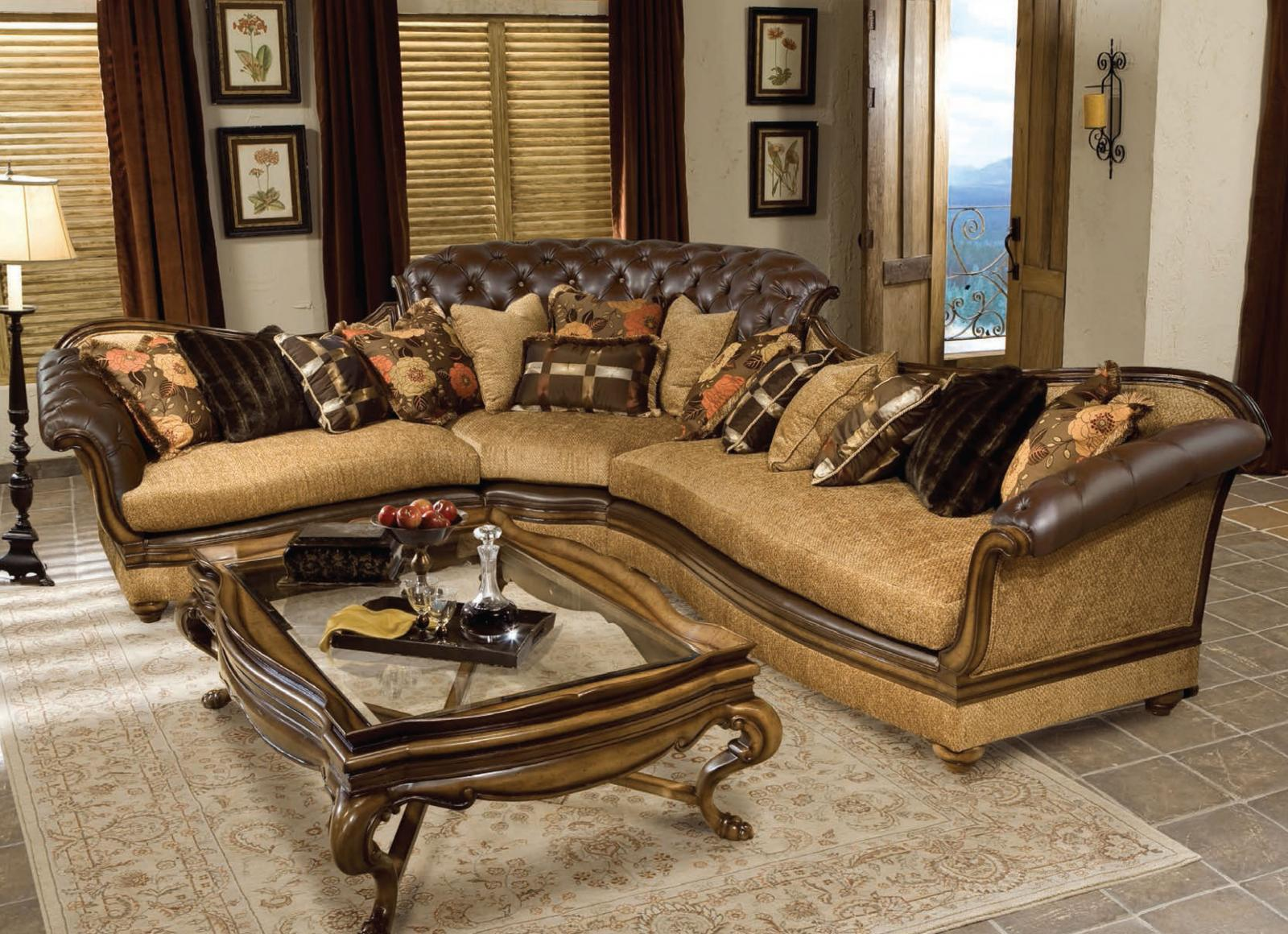 Classic, Traditional Walnut, Dark Brown Chenille and Fabric, Wood, Solid Hardwood Sectional Sofa 1 pcs Salvatore by Benneti