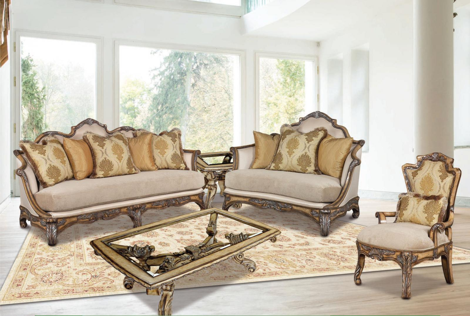 Classic, Traditional Dark Brown, Light Gray, Light Walnut Chenille and Fabric, Wood, Solid Hardwood Sofa Set 4 pcs Vivacci  by Benneti