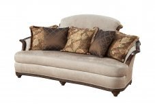 Classic, Traditional Beige Chenille and Fabric, Wood Veneers, Solid Hardwood Sofas 1 pcs STEFANIA by Benneti