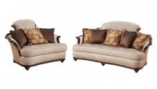 Classic, Traditional Beige Chenille and Fabric, Wood Veneers, Solid Hardwood Sofa Loveseat 2 pcs STEFANIA by Benneti
