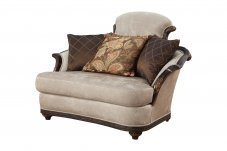 Classic, Traditional Beige Chenille and Fabric, Wood Veneers, Solid Hardwood Loveseat 1 pcs STEFANIA by Benneti