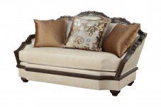 Classic, Traditional Beige Chenille and Fabric, Wood Veneers, Solid Hardwood Loveseat 1 pcs VALENTINA by Benneti