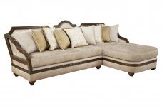 Classic, Traditional Beige Chenille and Fabric, Wood Veneers, Solid Hardwood Sectional Sofa 1 pcs LUCIANNA by Benneti