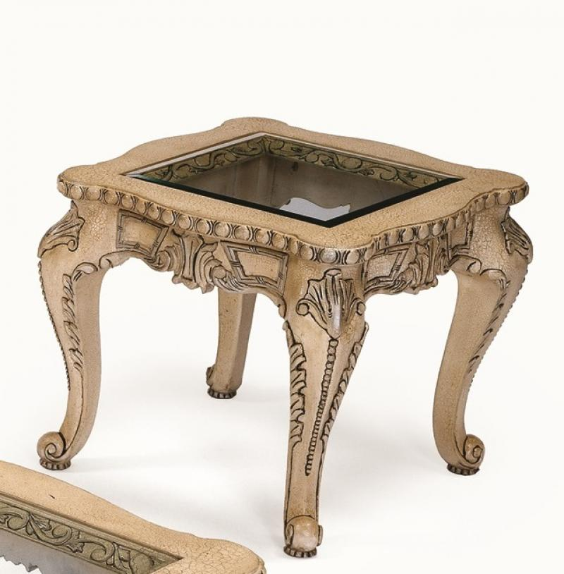 Classic, Traditional Brown  and Glass, Wood, Solid Hardwood End Table 1 pcs FIAMMA by Benneti
