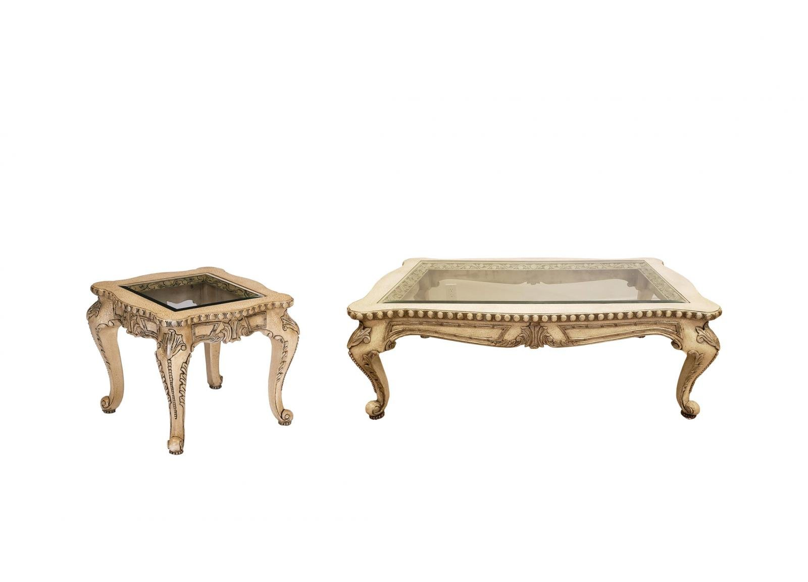 Classic, Traditional Beige, Brown  and Glass, Wood, Solid Hardwood Coffee Table End Table 2 pcs FIAMMA by Benneti