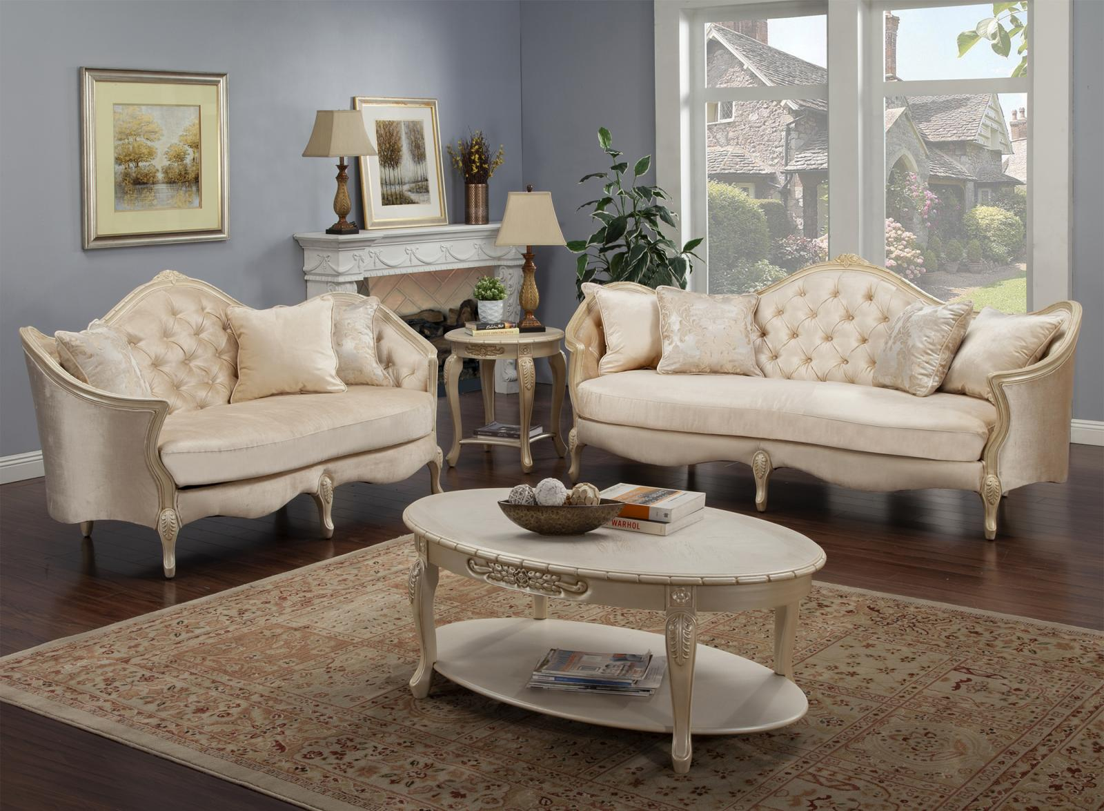 Classic, Traditional Beige, Ivory, Cream Chenille and Fabric, Wood, Solid Hardwood Sofa Loveseat Coffee Table End table 4 pcs BELLA  by Benneti