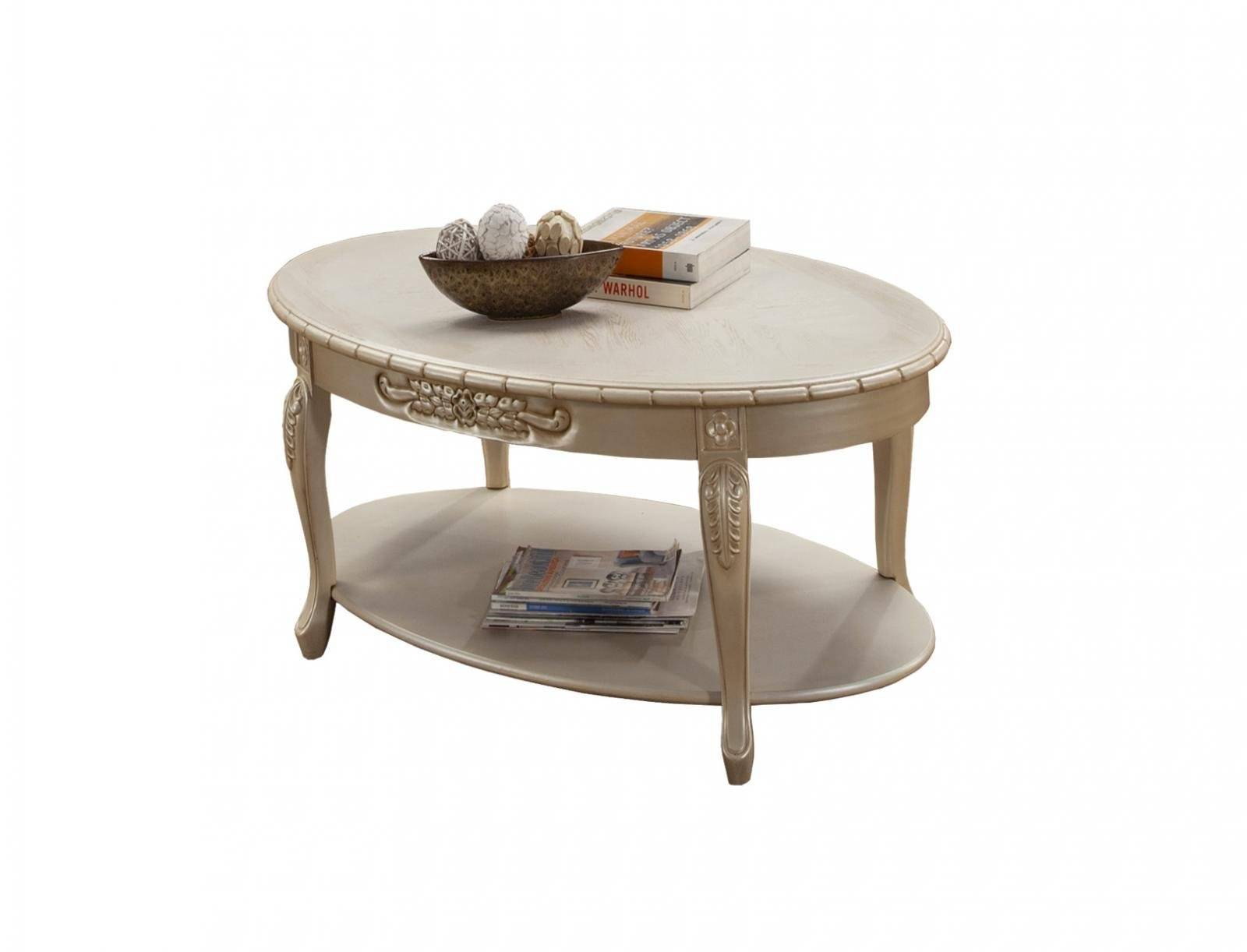 Classic, Traditional Beige, Ivory, Cream Chenille and Fabric, Wood, Solid Hardwood Coffee Table 1 pcs BELLA  by Benneti