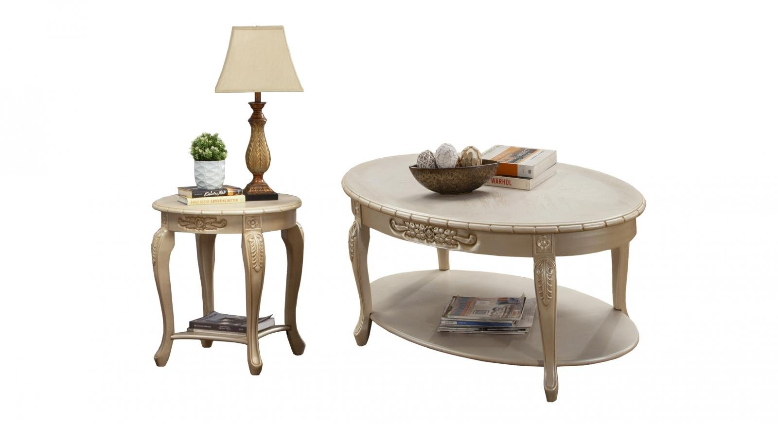 Classic, Traditional Beige, Ivory, Cream Chenille and Fabric, Wood, Solid Hardwood Coffe Table and End Table 2 pcs BELLA  by Benneti