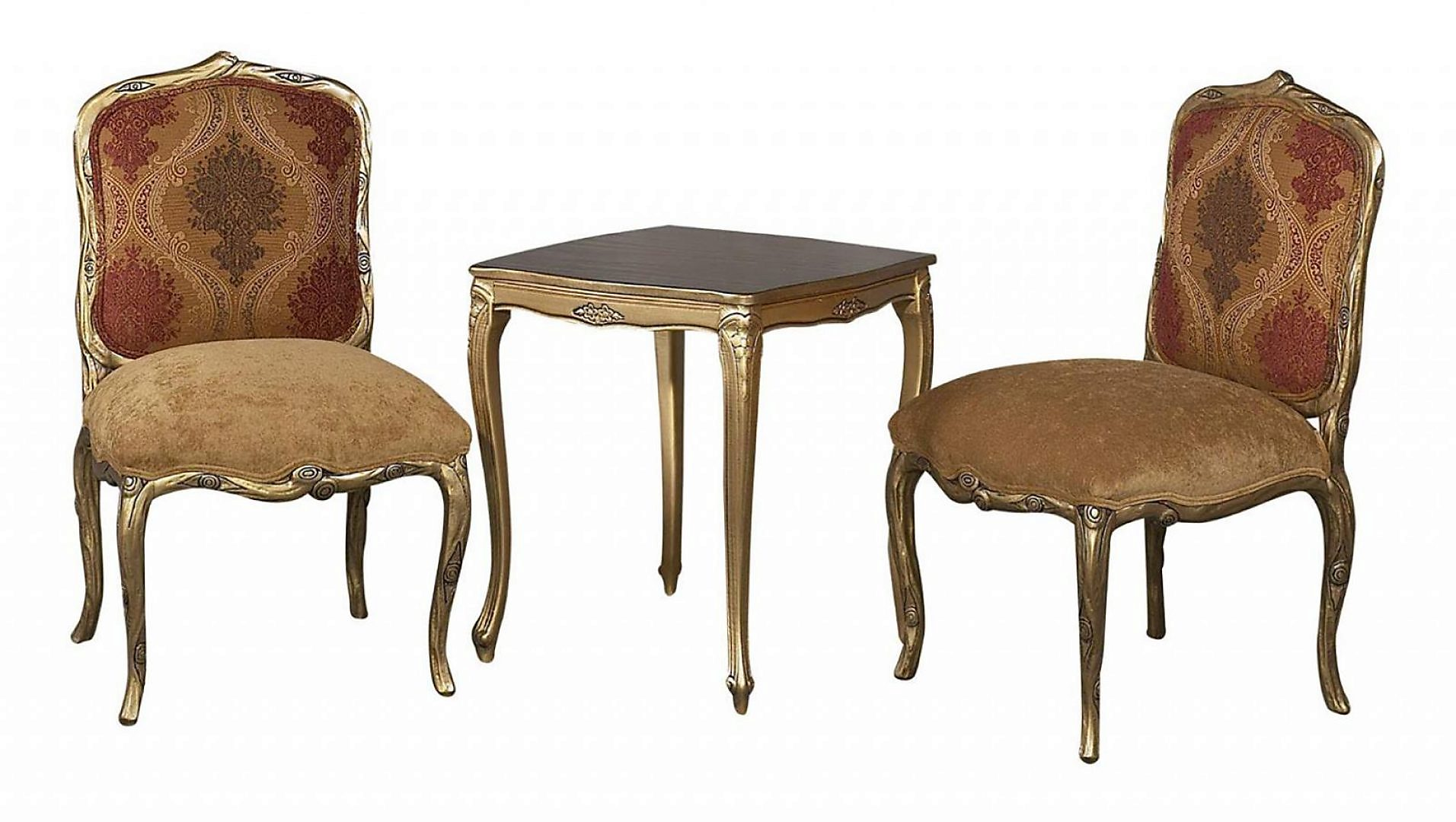 Classic, Traditional Golden Brown, Gold Finish Chenille and Fabric, Wood, Solid Hardwood Side Chair Set 3 pcs K76-Side-120-End by Benneti