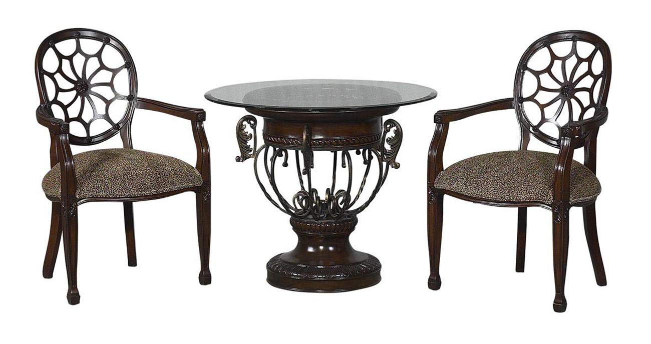 Classic, Traditional Wenge Chenille and Fabric, Glass, Wood, Metal, Solid Hardwood Armchairs and End Table 3 pcs SPIDER   by Benneti
