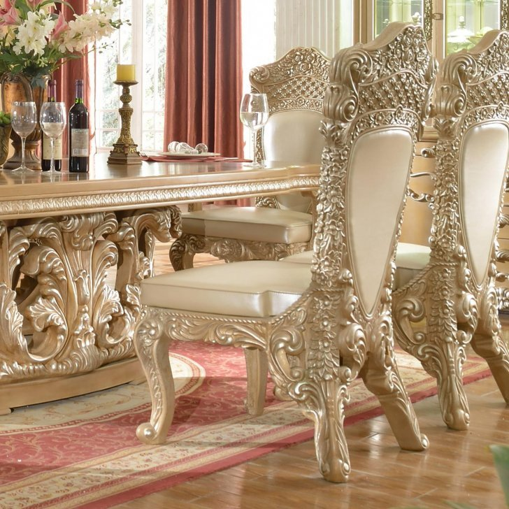 Traditional Dining Room Set 9 PCS in Gray Wood Traditional ...
