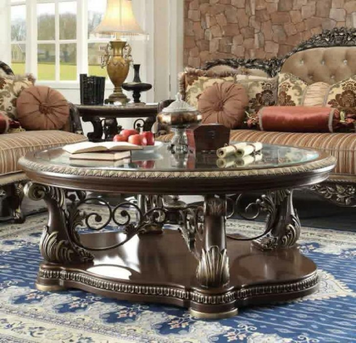 Traditional Coffee Table Set 3 Pcs In Brown Wood Traditional Style