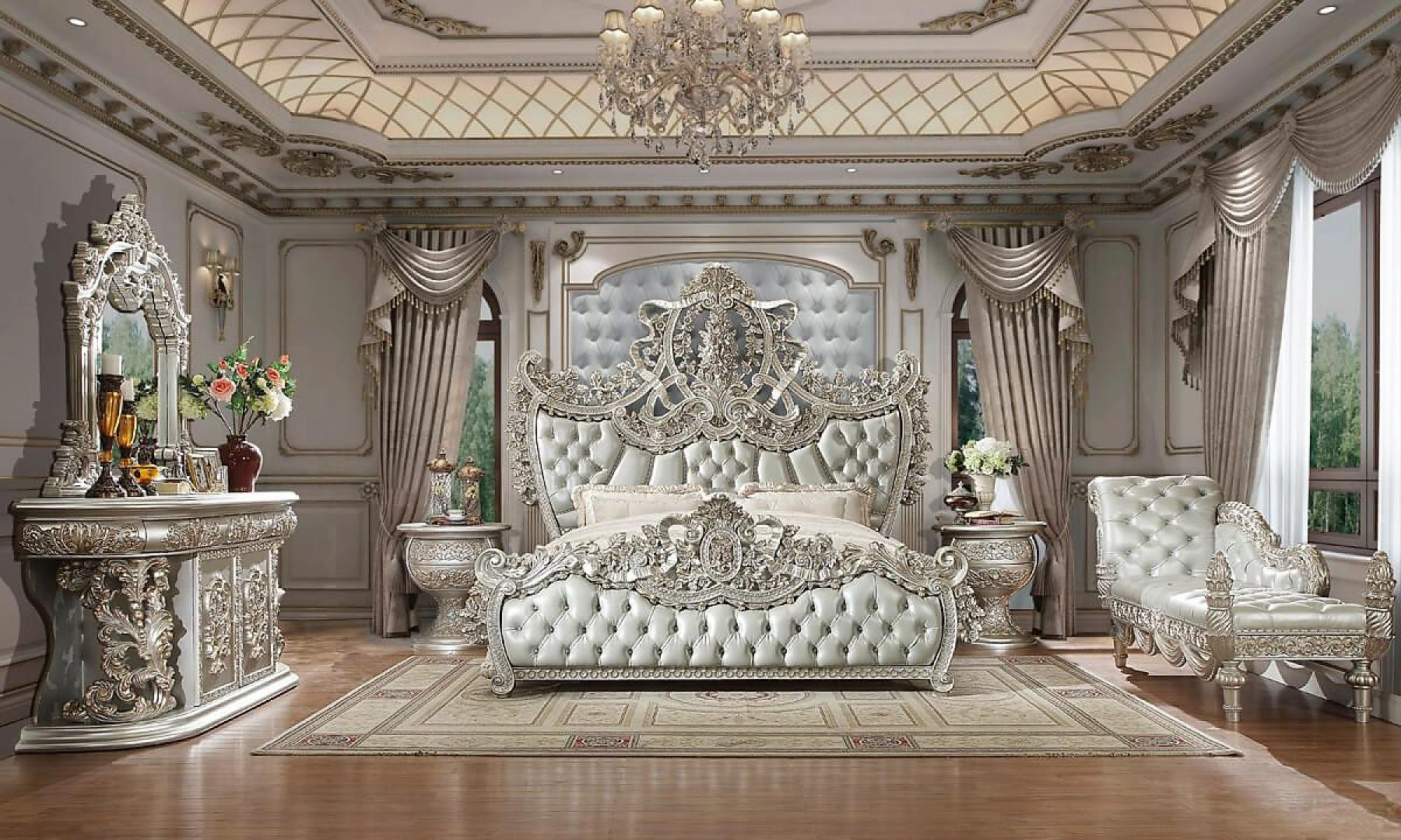Traditional Bedroom Set 5 Pcs In Gray Leather Traditional Style Homey Design Hd 8088