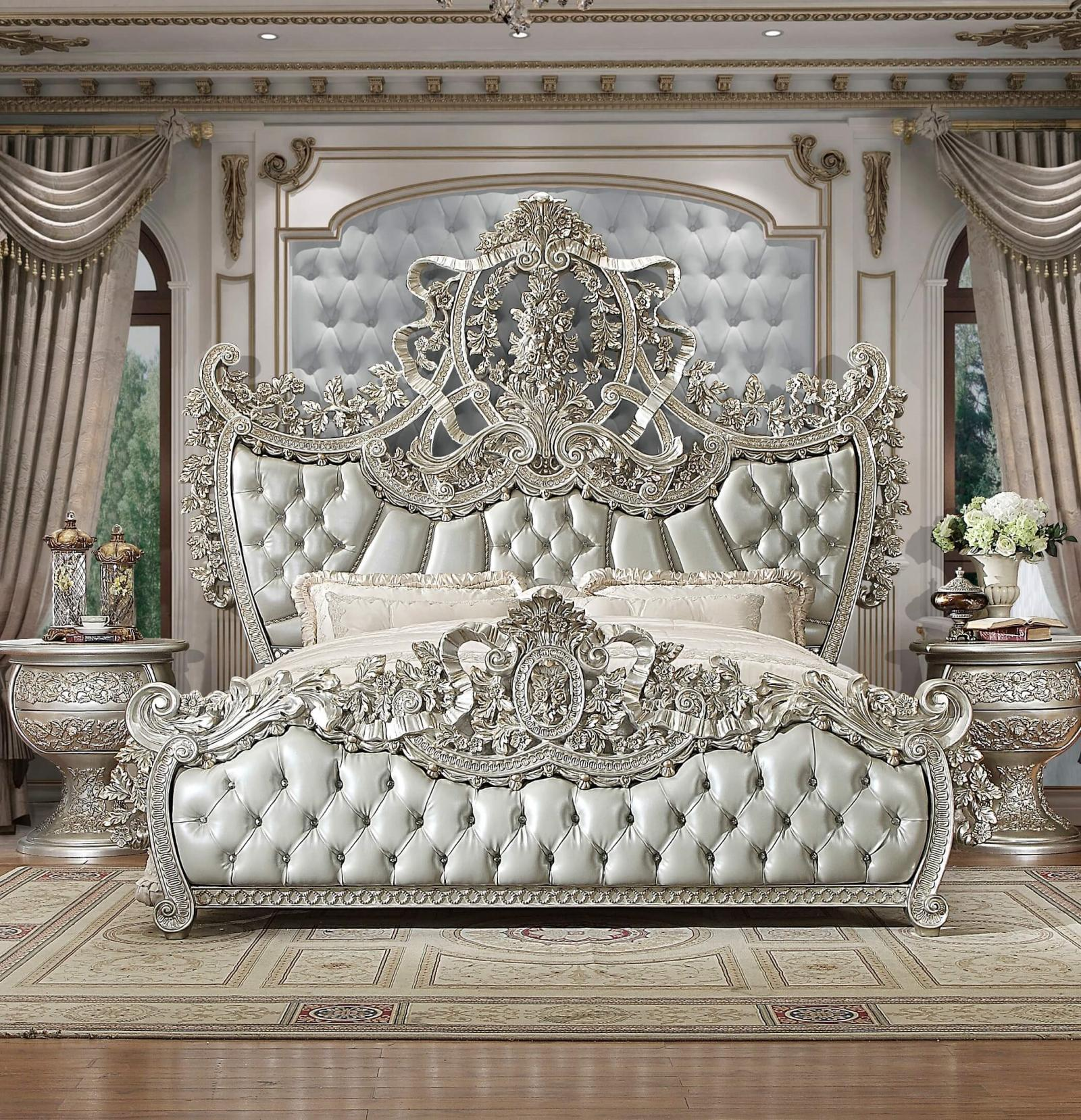 Traditional Bedroom Sets In Silver Metallic By Homey Design Hd Ek8088 Hd N8088 Hd N8088 Hd Dr8088 Hd M8088 Hd Ben8088